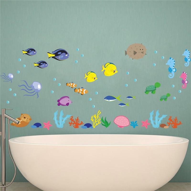 % Настенные морские Стикеры для подводной рыбы, наклейки на стену в детскую ванную комнату, домашний декор, роспись для гостиной, детской ком...