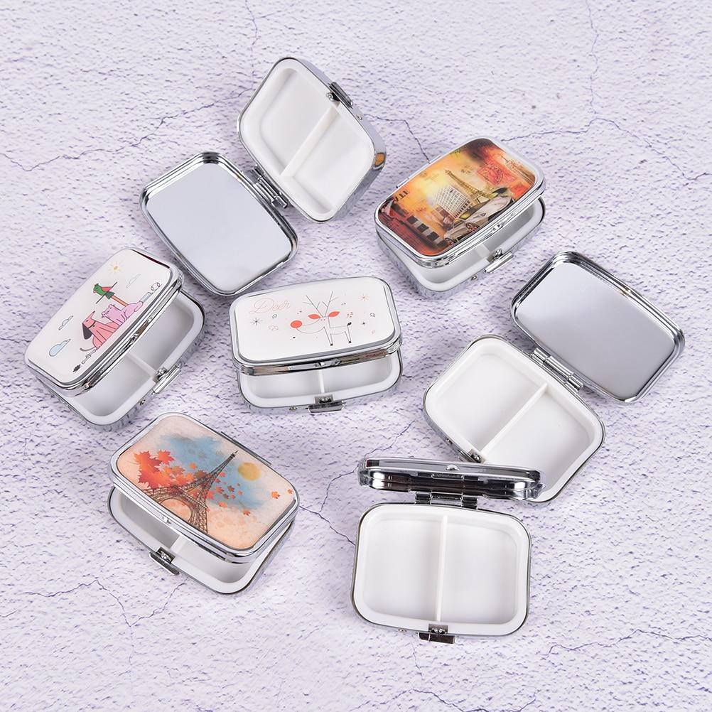 1pc Mini plegable caso De recipiente para medicinas píldora organizador de divisores de Pastilleros Pildoras caja metálica para pastillas