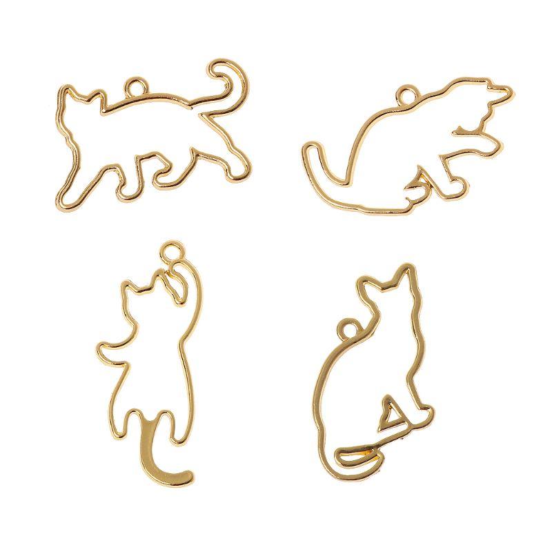 4 pçs gatos impertinentes em branco quadro pingente moldura aberta definir resina uv jóias diy resina epóxi charme