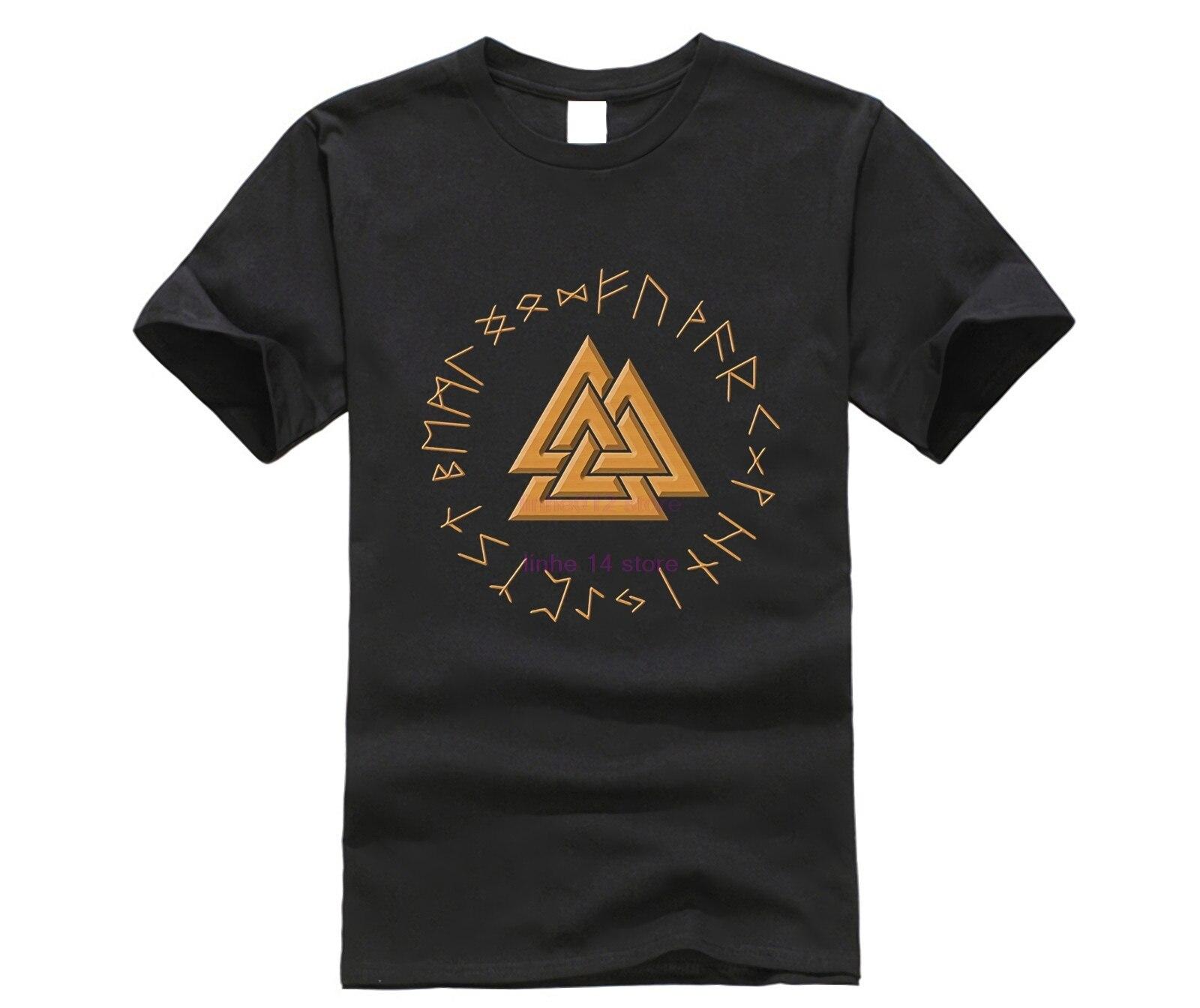 Camiseta de vikingos Valknut oro pagano nórdico Rune heatthen