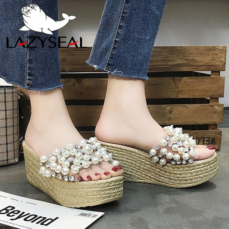 Sandalias LazySeal 2019 para mujer, zapatillas de mujer, zapatos de playa con perlas salvajes, chanclas con suela gruesa y tacón de 7,5 cm, zapatillas de plataforma