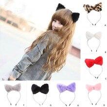 Fox ears Hair Accessories Cute Cat Hairband Women soft Headbands Headband Headwrap Plush Cat Ears Hair Accessories mujer L50