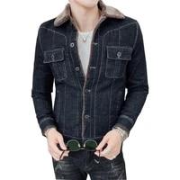 2019 men fashion denim jackets autumn and winter black denim jacket thick wool coat male plus velvet denim jacket size m 3xl 4xl