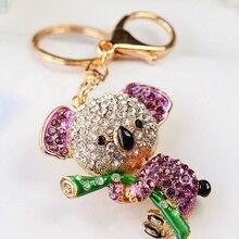 Sıcak Koala ayı şeklinde anahtarlık anahtarlık anahtarlık çanta kolye moda kadınlar için (renk mor)