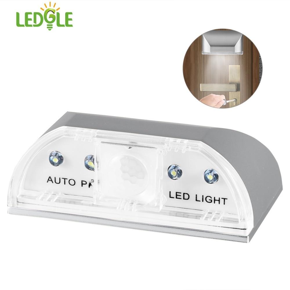 LEDGLE Buraco Da Fechadura Inteligente Luzes LED Infravermelho Lâmpadas de Alta Qualidade Fechadura Da Porta Auto Motion Detector de Luz Alimentado Por Bateria 4 Contas de Prata