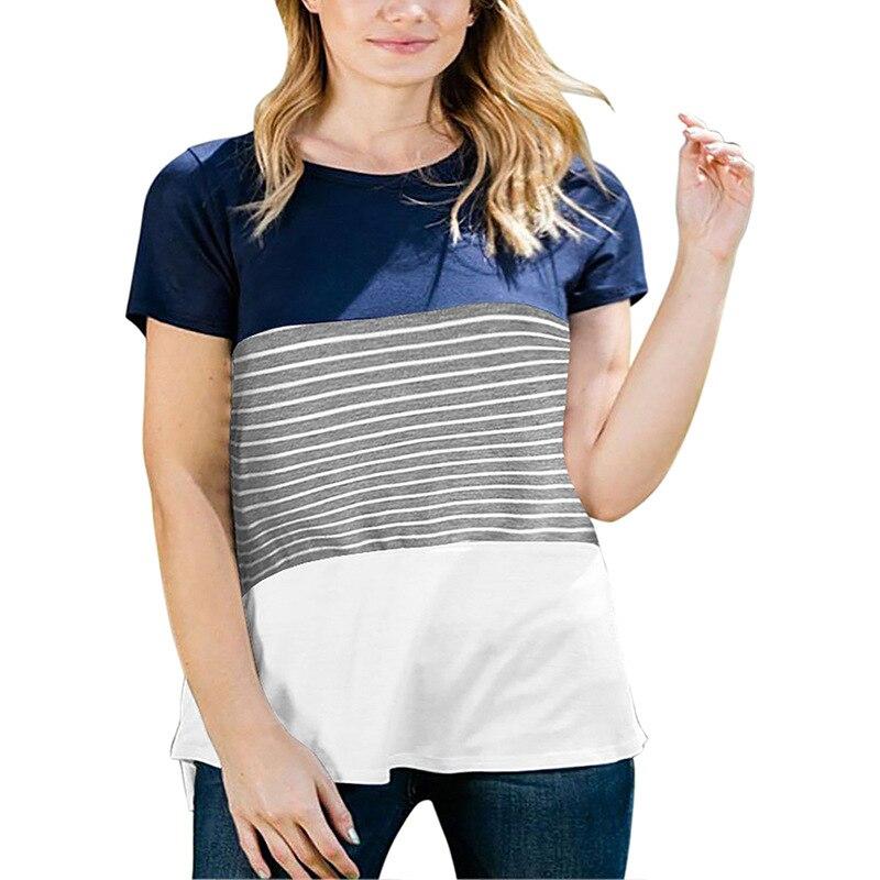 Gran tamaño 9XL 2020 verano Mujer camiseta suelta manga corta rayas Camisetas Mujer grasa MM de talla grande ropa de mujer tops de talla grande