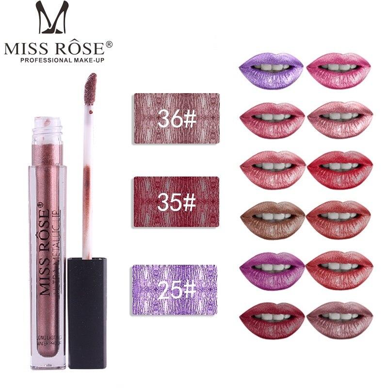 MISS ROSE-Gloss para labios, 12 colores, mate, metálico, tubo delgado, Morado, Nude, duradero, resistente al agua, TSLM2