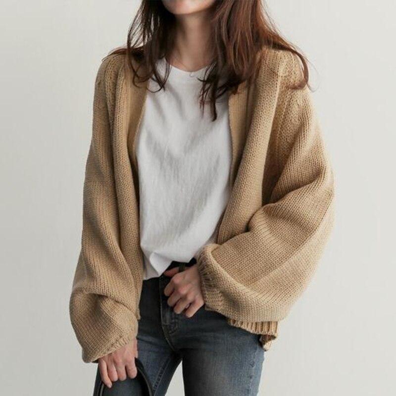 Cárdigan grande de invierno para mujer, Chaqueta de punto, chaqueta informal de otoño, manga corta, abrigo básico cálido LM027