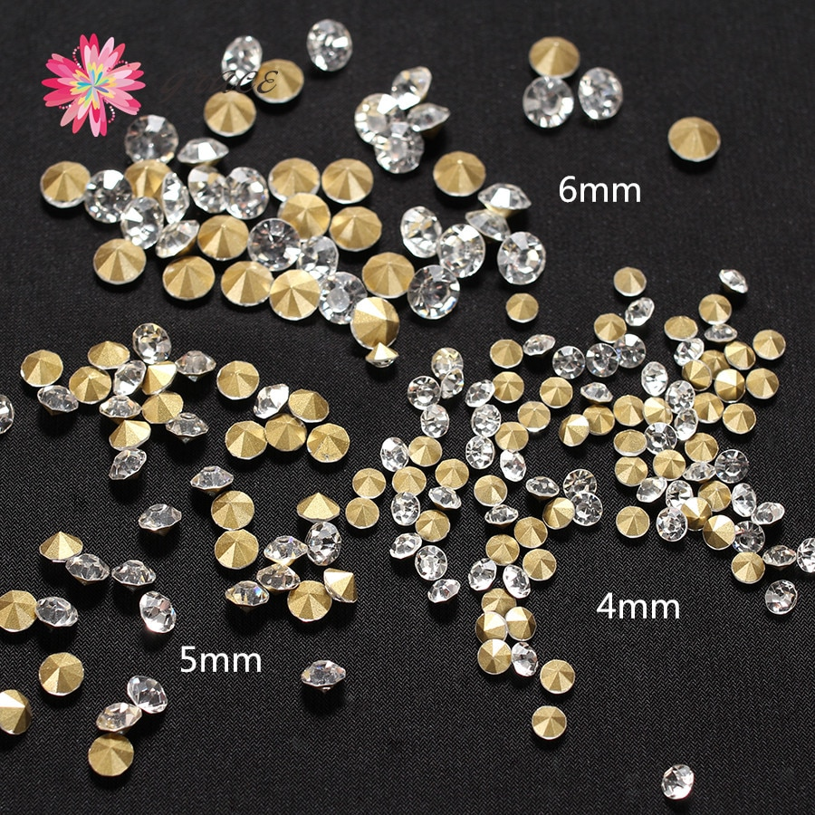 Lote de 200 piezas de 3mm/4mm/5mm/6mm Chatons punto atrás Diamante de imitación transparente cristal redondo Strass brillante para manualidades fabricación de joyas Decoración
