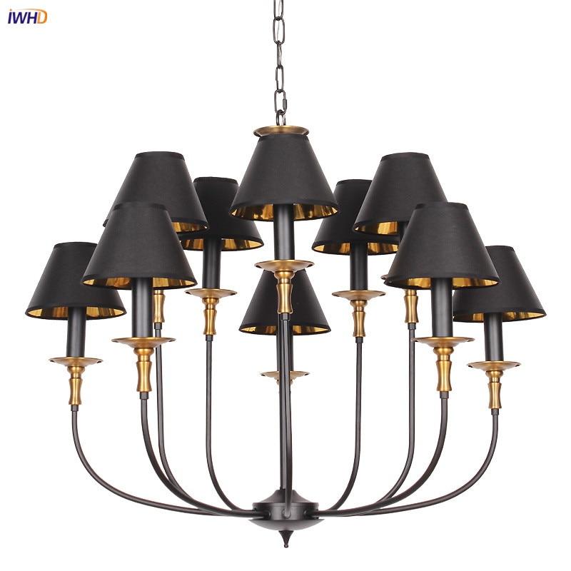 Винтажные светодиодный ные люстры IWHD10 в скандинавском стиле, черные лампы для спальни, гостиной, кухни, декоративная люстра в стиле лофт