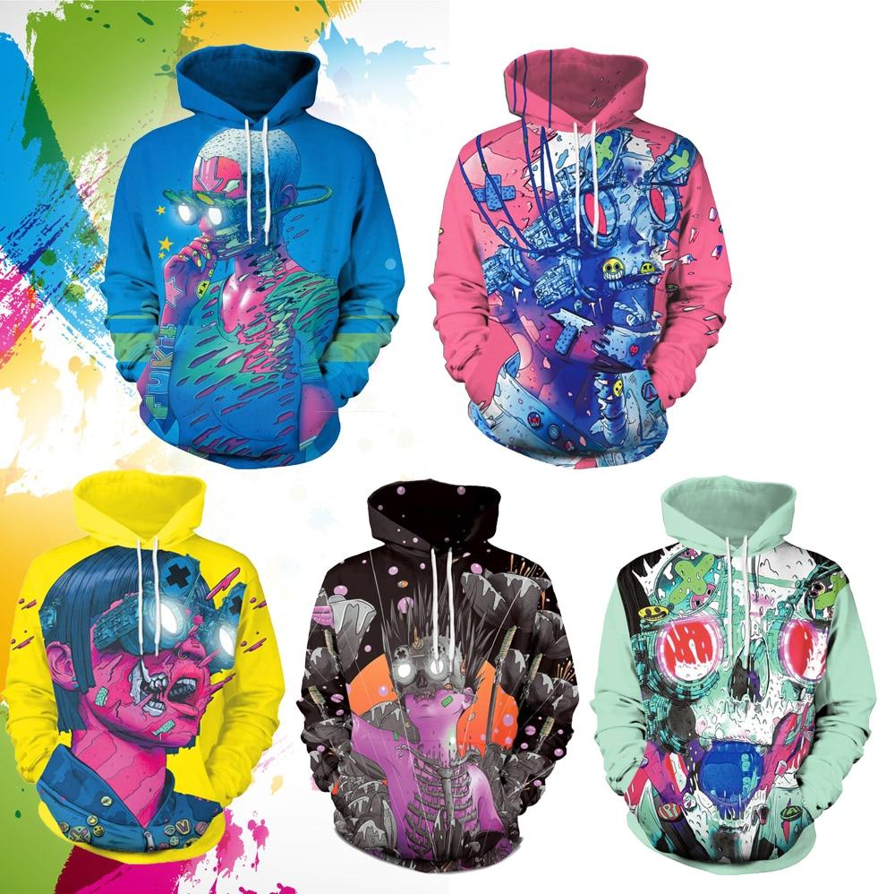 SzBlaZe Unisex Creative Youth Street 3D imprimir Casual Hoodies Graffiti Spoof Fashtion sudadera con gorra Otoño Invierno ropa