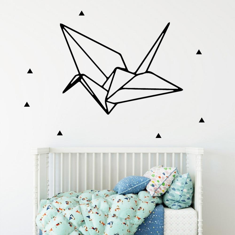 European-Style geometry Paper crane Vinyl Wall Sticker Home Decor Stikers For Kids Rooms Nursery Room Waterproof Wall Art Decal