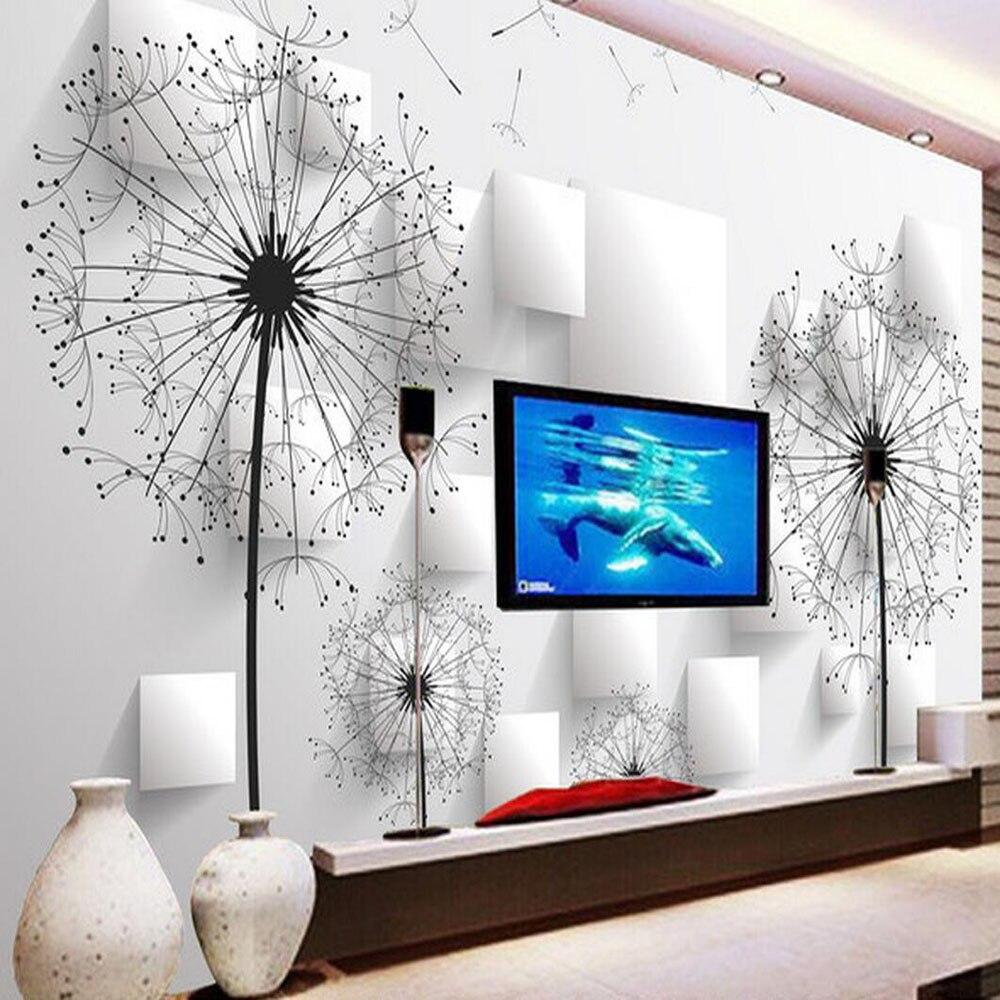 Rollos de papel tapiz floral de diente de león, mural 3d para...