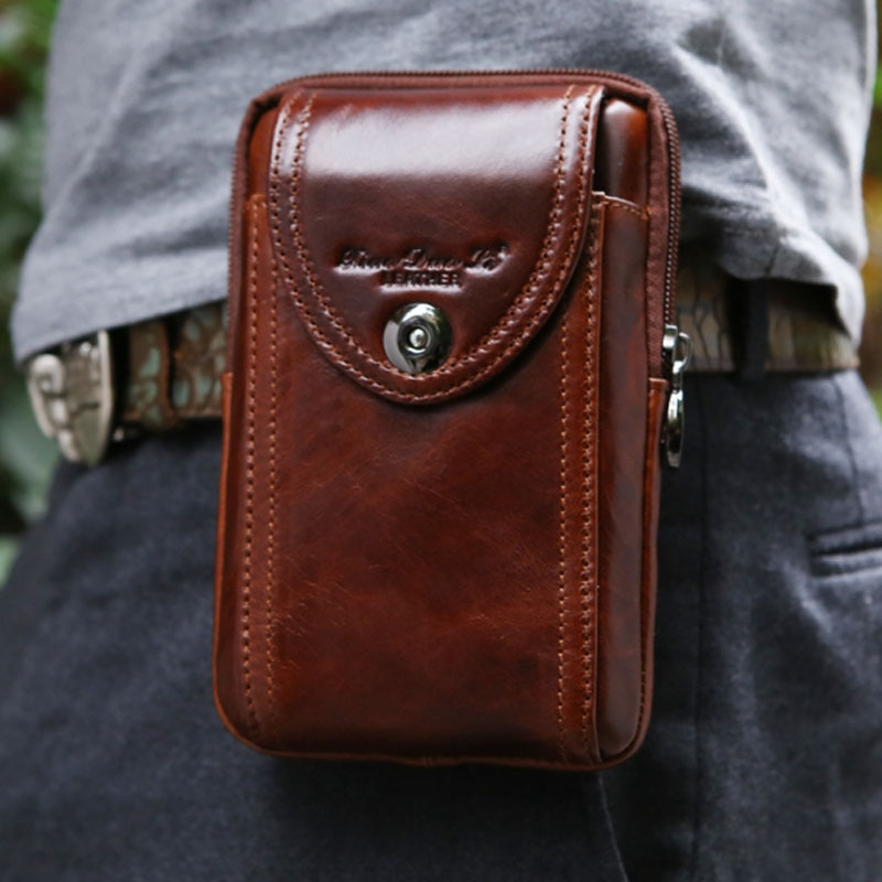 men cowhide genuine leather military cell mobile phone cover case skin hip belt bum purse fanny pack waist bag pouch YIANG New Men's Genuine Leather Cowhide Vintage Belt Pouch Purse Fanny Pack Waist Bag For Cell Mobile/Phone Case Cover Skin