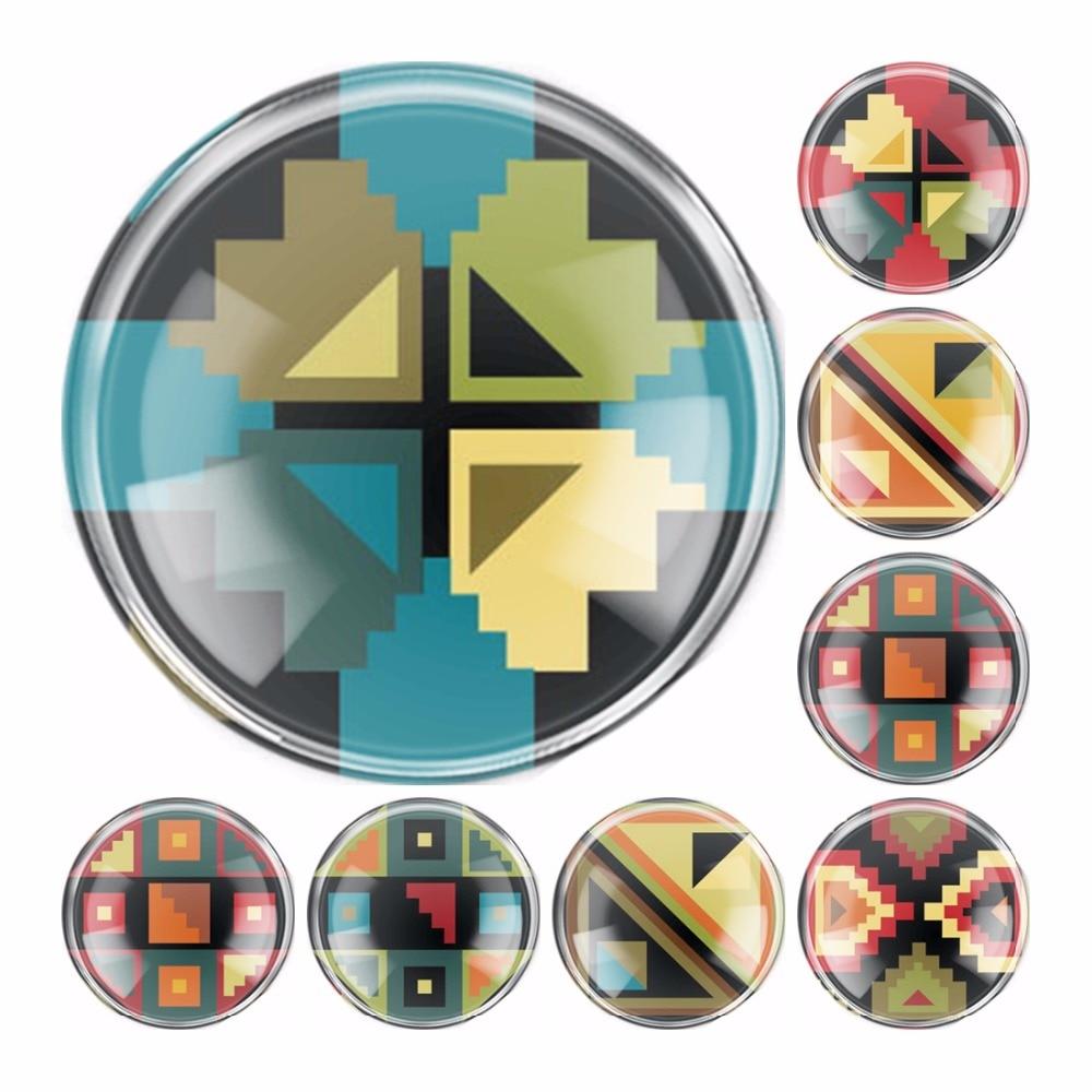 Hecho a mano 6 tamaños de vidrio mosaico bordado plano camafeo cabujón cúpula DIY joyería encanto foto colgante configuración