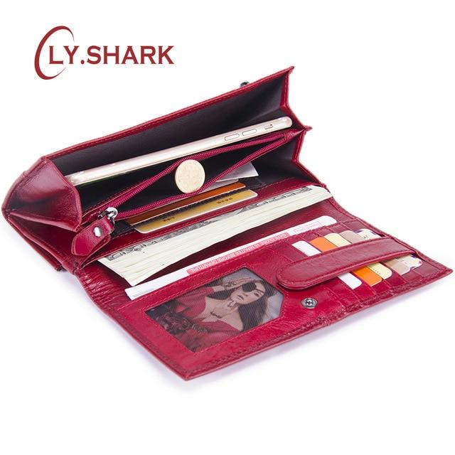 LY.SHARK Luxus Marke Frauen Brieftasche Aus Echtem Leder Brieftasche Frauen Münzen Geldbörse Kupplung Weibliche Telefon Karte Halter Lange Zipper Geldbörse