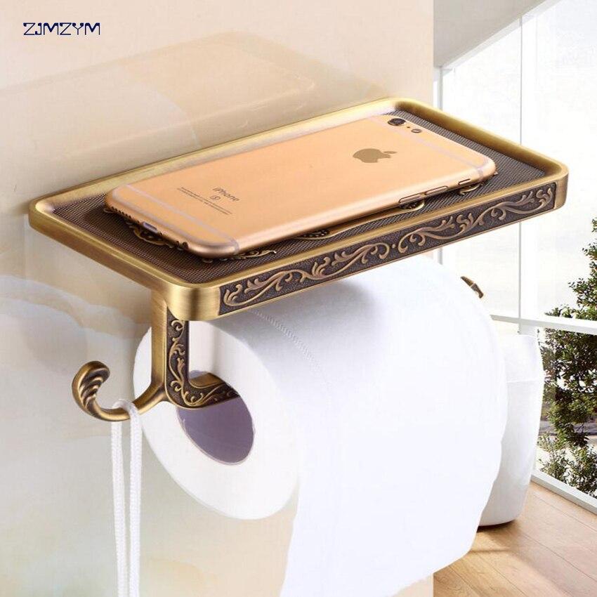Ванная комната Алюминий Alloyl мобильный телефон держатель Бумага полка Ванная комната Полотенца стойки туалетная бумага коробка Ванная комн...