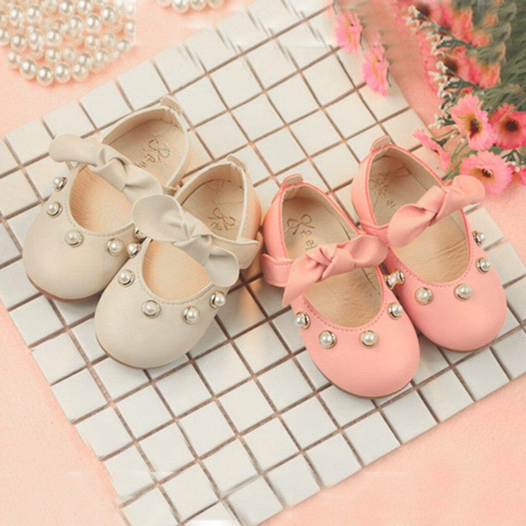 Zapatos Infantiles para niñas de princesa con lazo con cristales, zapatos de cuero de una sola moda para chicas, vestido de fiesta, zapatos de baile de boda # XTN