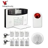 YobangSecurity     systeme dalarme de securite domestique filaire sans fil  GSM  russe  francais  espagnol  telecommande vocale  capteur de fumee de gaz et dincendie