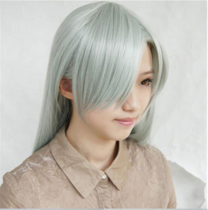 Anime os sete pecados mortais elizabeth liones cosplay peruca longa luz cinza verde resistente ao calor perucas de cabelo sintético + peruca boné