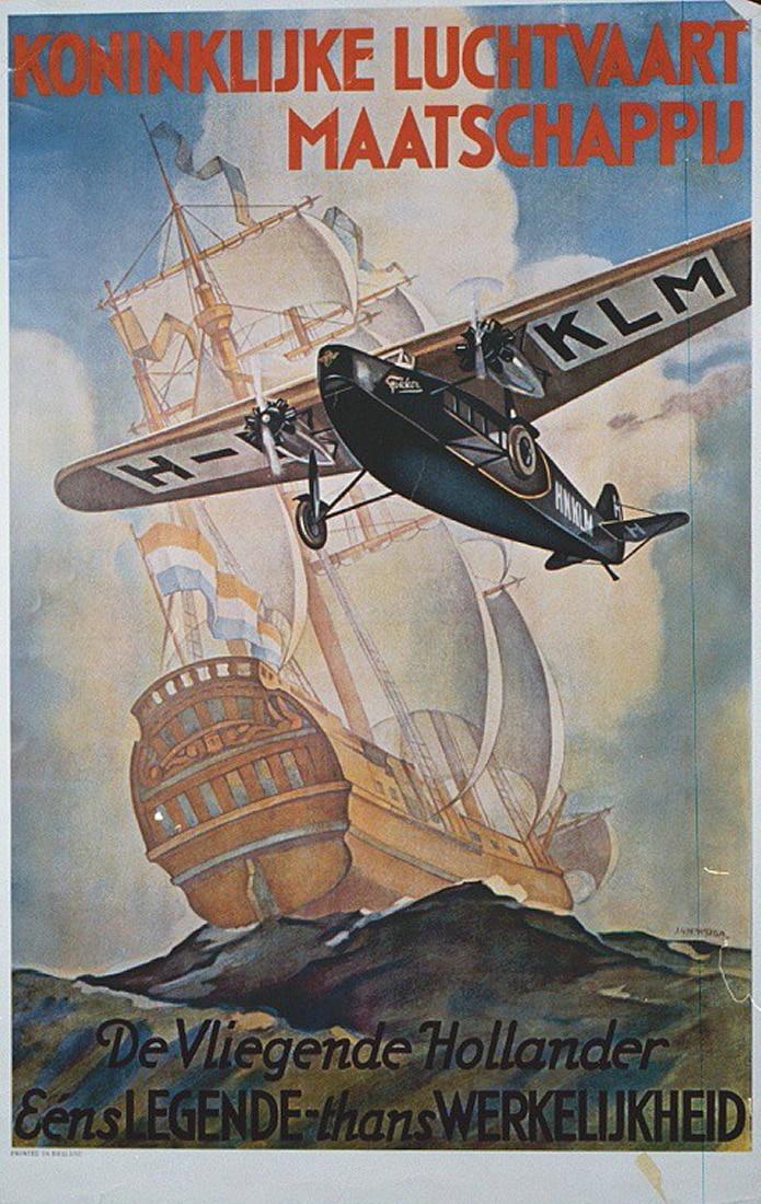 Países Bajos k.l.m. Royal Dutch aerolínea ficción a hecho clásico Adhesivos de pared lona vintage poster inicio decoración Barra de regalo
