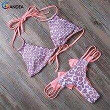 2019 Mulheres Halter Swimsuit Sexy Impresso Arco Biquíni Brasileiro Swimwear Cut Out Maiô Biquinis de Tiras