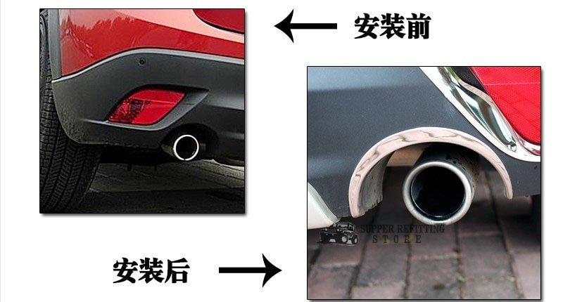 S.Steel Rear bumper Exhaust tip molding trim Chrome FOR Mazda CX5 CX-5 2013 2014