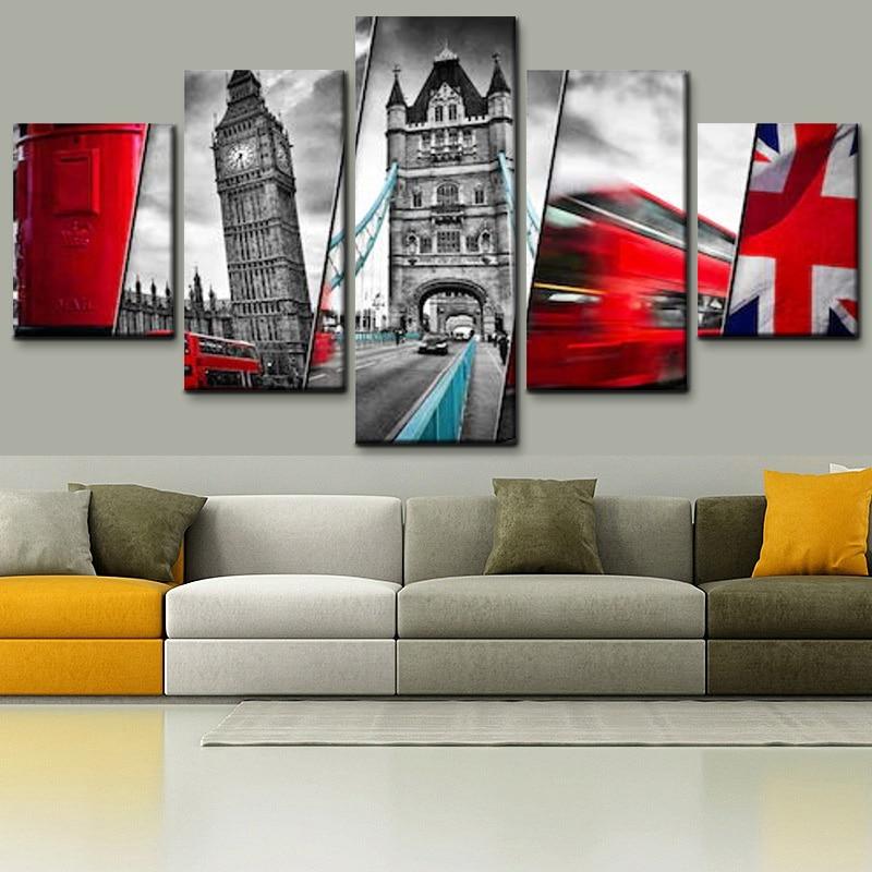 Decoración del hogar moderna 5 piezas bandera del Reino Unido y pintura de lienzo arquitectónico impresión HD carteles e impresiones para la pared de la sala de estar arte