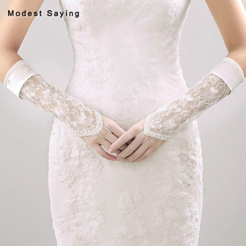 2 pares de guantes de novia sin dedos de encaje con cuentas...