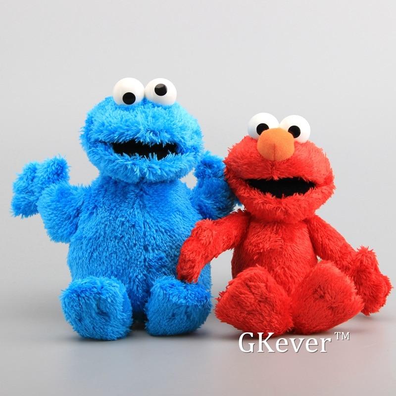 High Quality Sesame Street Elmo Cookie Monster with Plastic Eyes Soft Plush Toy Cartoon Fluffy Stuff
