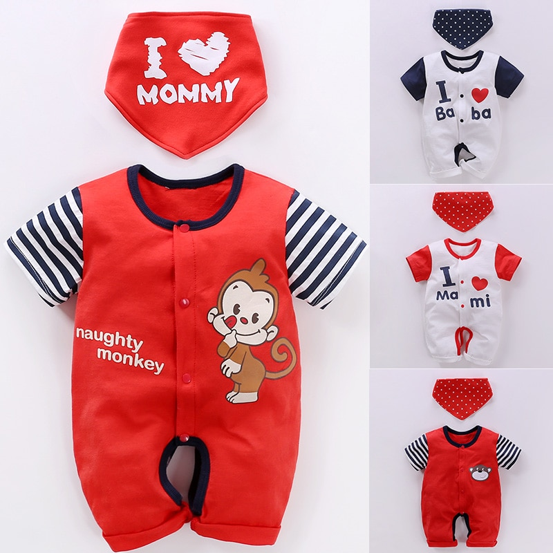 YiErYing Baby Rompers 2Pcs Bibs+Rompers 2018 New Summer Short Sleeves Cotton Cartoon Newborn Clothes Jumpsuits