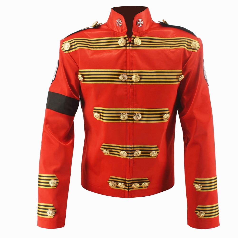 Rare MJ Michael Jackson Red Military Retro England Jacket Handmade 100%
