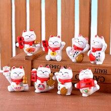 ZOCDOU 1 Piece Lucky Smile Red Ear Money Cat Small Statue Figurine Crafts Children Figure Ornament Miniatures Home Decoration