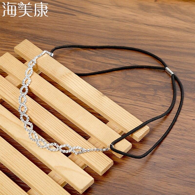 Женский простой ободок со стразами Haimeikang, белая повязка на голову, аксессуары для волос, цепочка на голову, ювелирное изделие для девушек, подарок