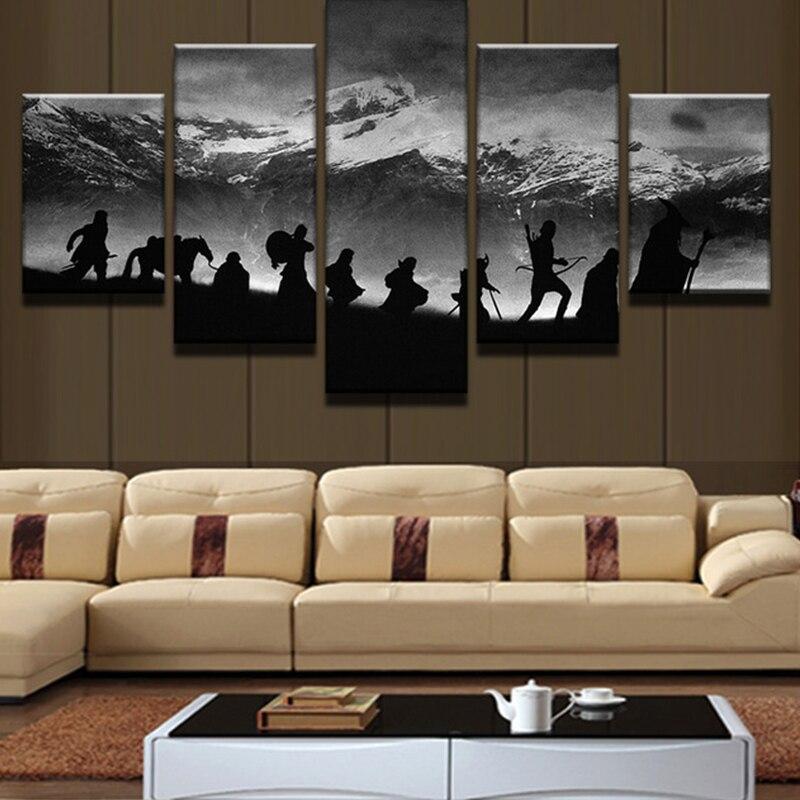 5 Panel de movimiento de caza arte de pared decorar película cartel de retrato Decoración de mesa Murale salón acuarela pintura sobre lienzo Moder