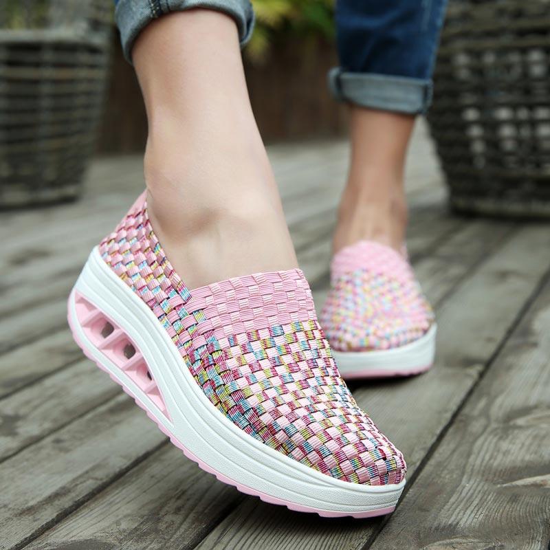 Slip-on Women's Platform Sneakers Women Running Shoes for Women Sports Shoe Sport Women Pink Slimming Swing Toning Fitness A-251