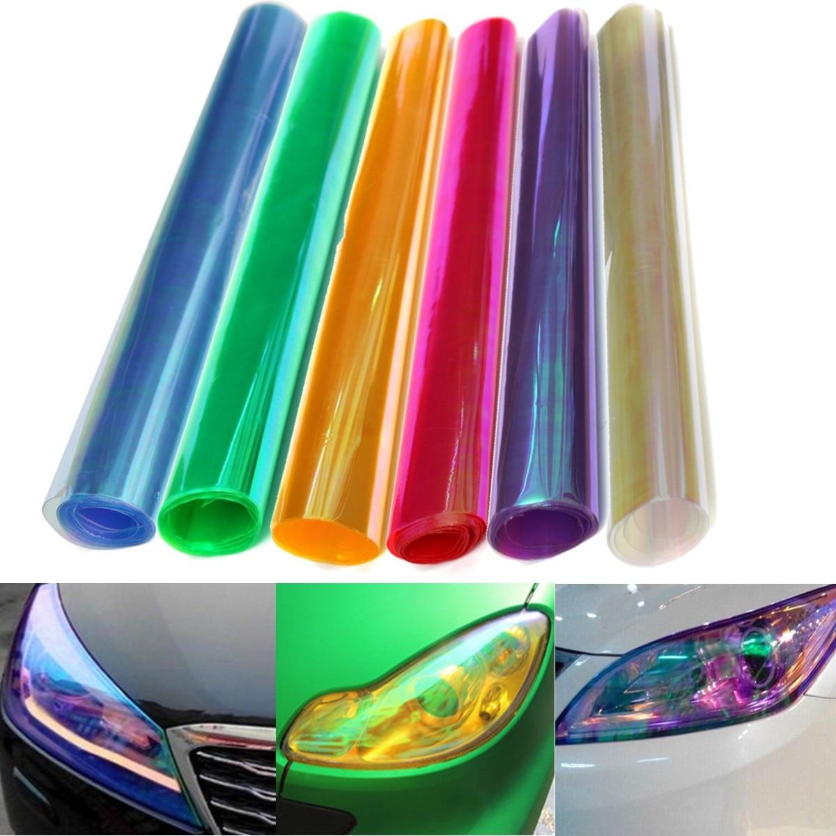 30X60cm 30X100cm Car Tint Fashion Headlight Taillight Fog Light Vinyl Smoke Film Sheet Sticker Cover Colorful