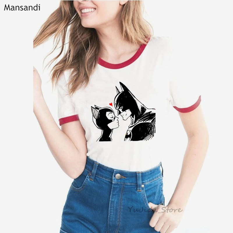 Divertido t camisas mujeres Batman Catwoman beso t camisa mujer verano harajuku kawaii camiseta femme coreano ropa de tumblr camisetas
