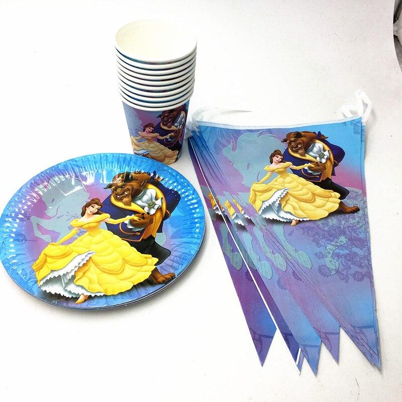 21 unids/lote belleza y el bestia platos vasos para BABY SHOWER fiesta suministros de belleza bestia BANNER belleza y el bestia platos y vasos BANNER