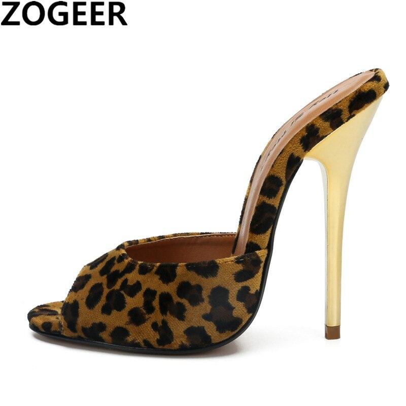 Sexy Leopard Super High Heel Women Slippers Peep Toe Mules Shoes Woman Silver White Sandals Unisex Fetish shoe women Large Size