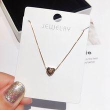 Нежное маленькое глянцевое ожерелье в форме сердца, цепочка цвета розового золота до ключиц, Модный женский чокер, ювелирные изделия