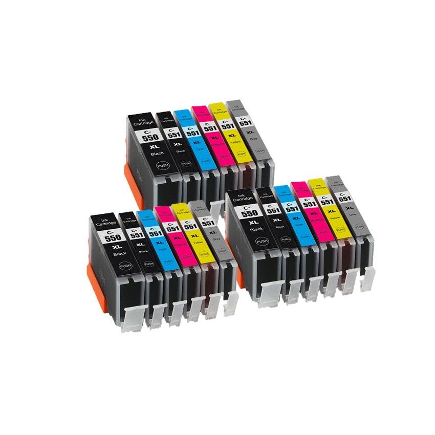 Картридж с чипом для принтеров canon PIXMA MG6350 MG7150 MG7550 IP8750, совместимый с CLI 551 BK C M Y GY 6 цветов