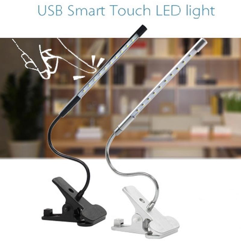 Mini USB lectura LED Touch LightBright regulable Flexible Clip escritorio libro para dormitorio lámpara ajustable Clip-on Mesa Kindle Laptop