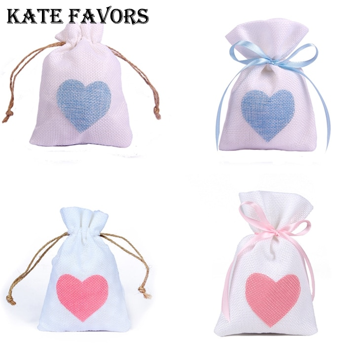 Bolsa de joyería blanca de arpillera con decoración de corazón, bolsa de regalo para recuerdo de boda, bolsas de arpillera, suministros de joyería, 12 Uds.