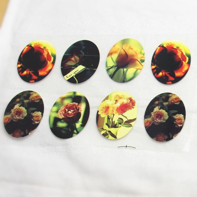 8 Uds. Parches de planchado Offset de flores rosas Vintage para ropa, transferencia Offset de mascotas DIY, parches de material de Scrapbooking 3x4cm
