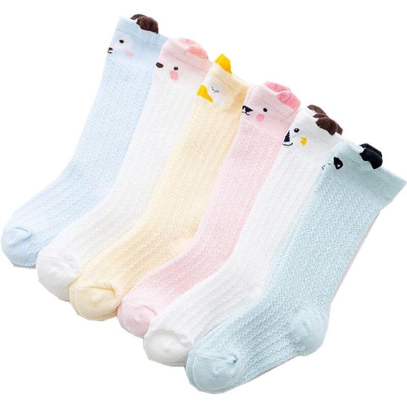 Calcetines de verano hasta la rodilla para bebé niña 2019, calcetines de algodón con red para recién nacidos, calcetines de dibujos animados para bebé, accesorios de ropa para cosas baratas