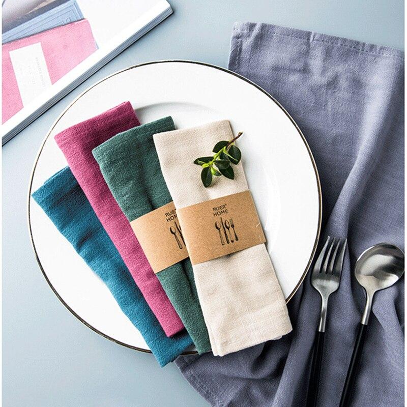 Servilleta de algodón y lino, servilleta de poliéster, pañuelo de tela para cena, fiesta, Navidad, taza sólida, platos, servilletas, mesa decorativa