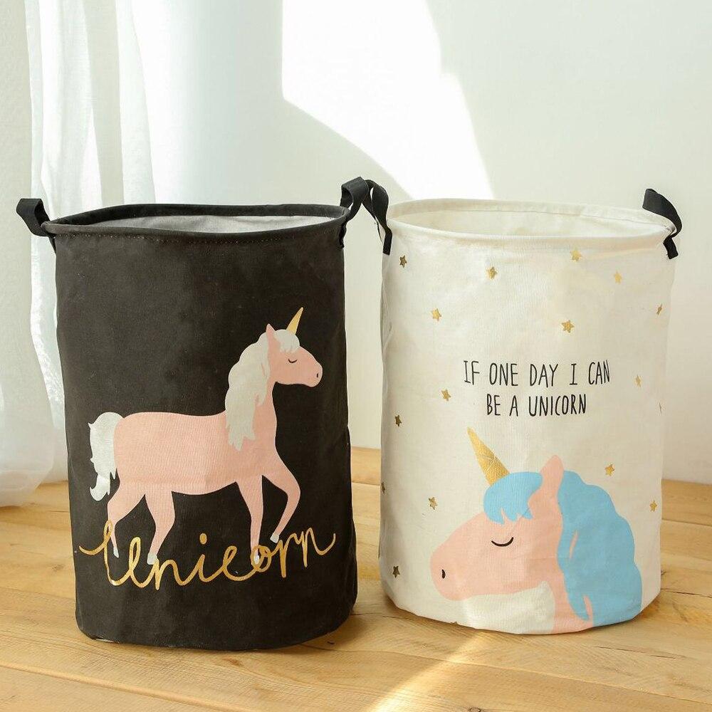 Cesta de almacenamiento de gran tamaño plegable a prueba de agua cesta de lavandería unicornio rosa azul cesta de guardería para ropa de juguete dormitorio 35x45cm
