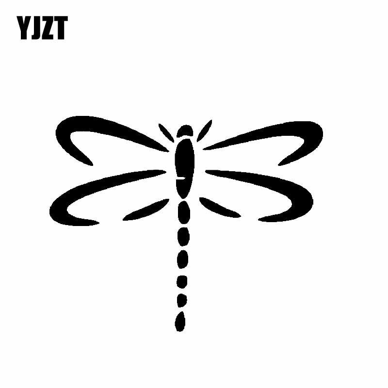 Yjzt 12.7 cm * 9.9 cm libélula vinil decalque etiqueta do carro borboleta bug natureza bonito preto/prata C19-0170