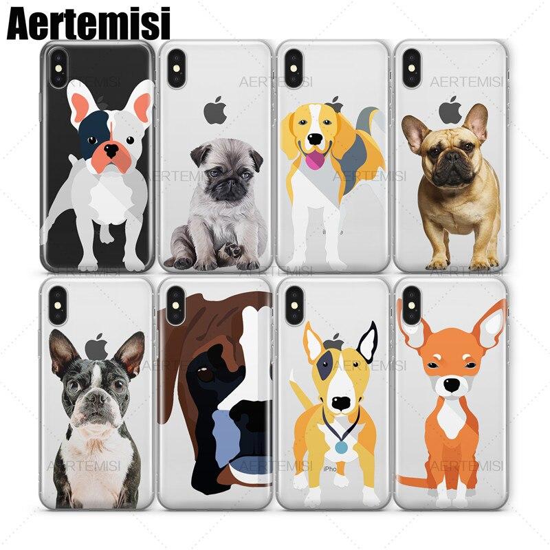 Прозрачный чехол из ТПУ Aertemisi Pug Beagle Boston Terrier Boxer Bull Terrier, чехол для iphone 5s, se 6 6s 7 8 Plus X Xs XR Max